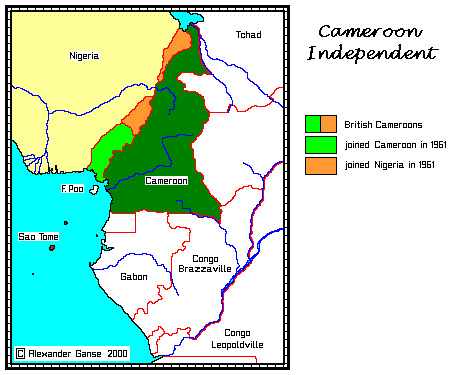 Map of Independent Cameroon | Cameroun